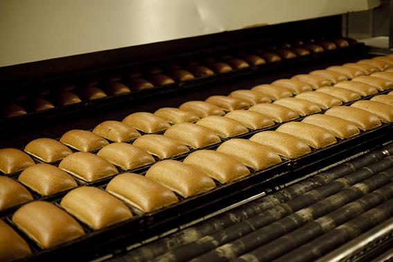 production line of bread at La Lorraine bakey